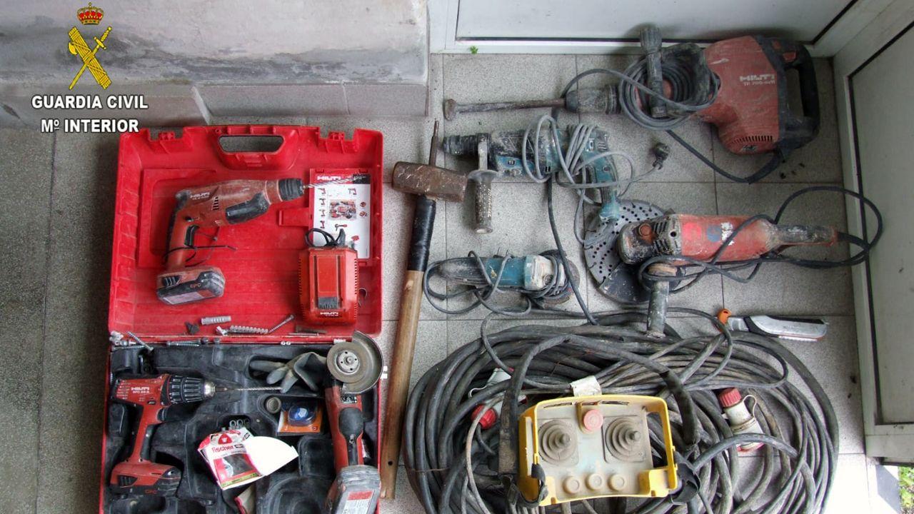 Material intervenido por la Guardia Civil que había sido robado en Gijón