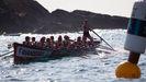 La tripulación de Cabo de Cruz, virando una ciaboga en una regata de esta temporada
