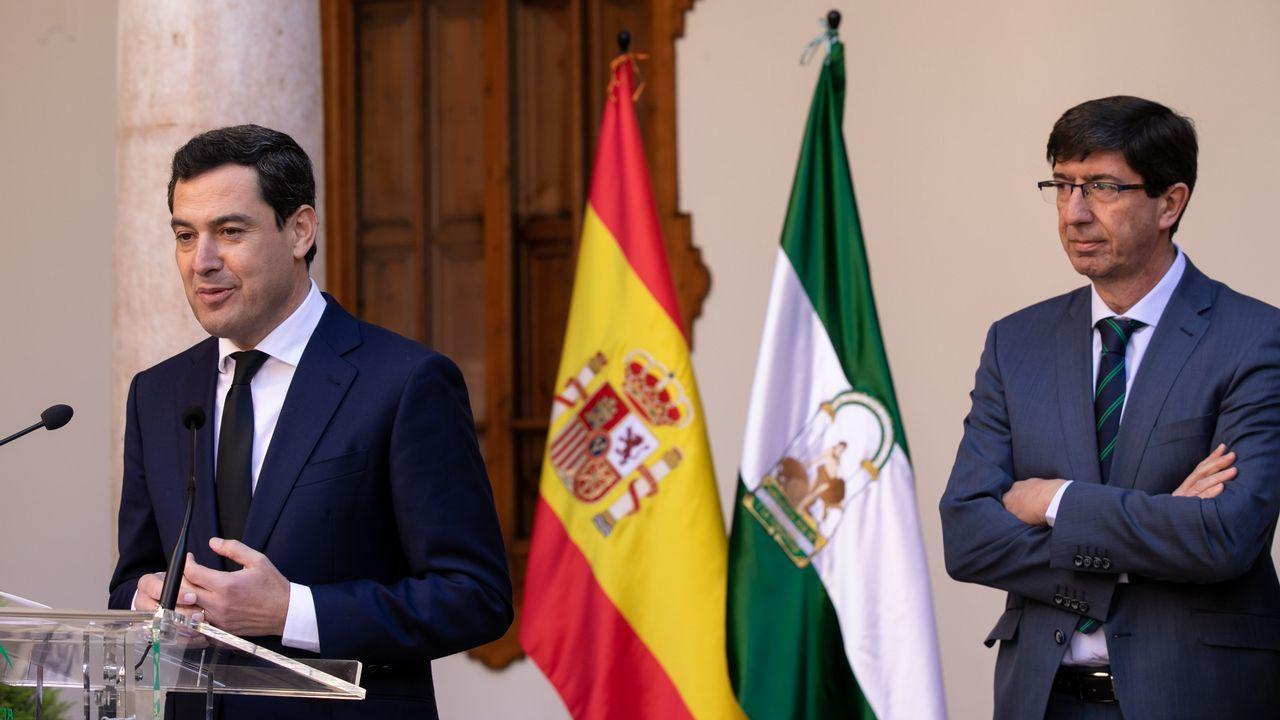 El presidente de la Junta de Andalucía, Juanma Moreno, y el vicepresidente Juan Marín