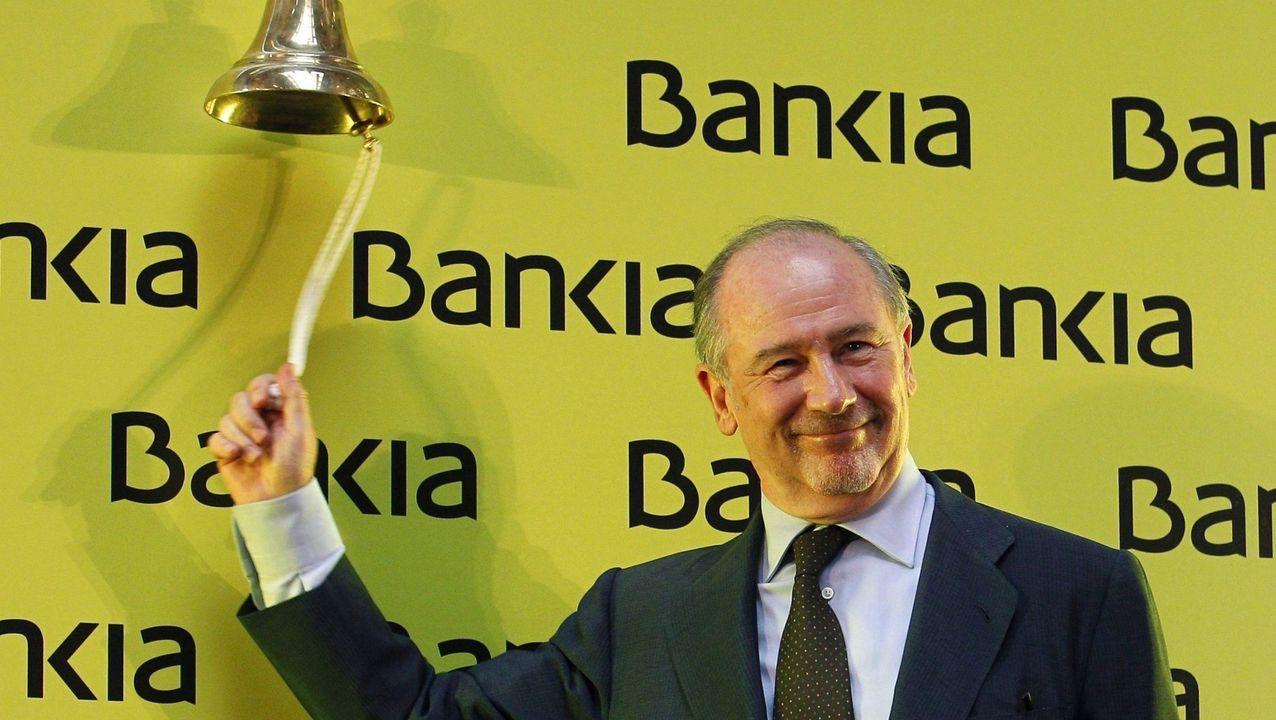 Rodrigo Rato, entonces presidente de la entidad, el día de la salida a bolsa de Bankia