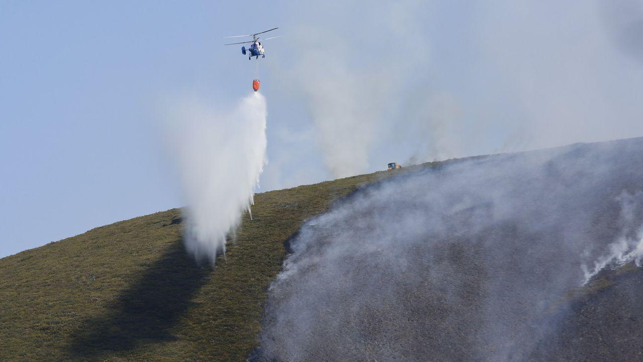 Médios aéreos participan en la extinción de un incendio