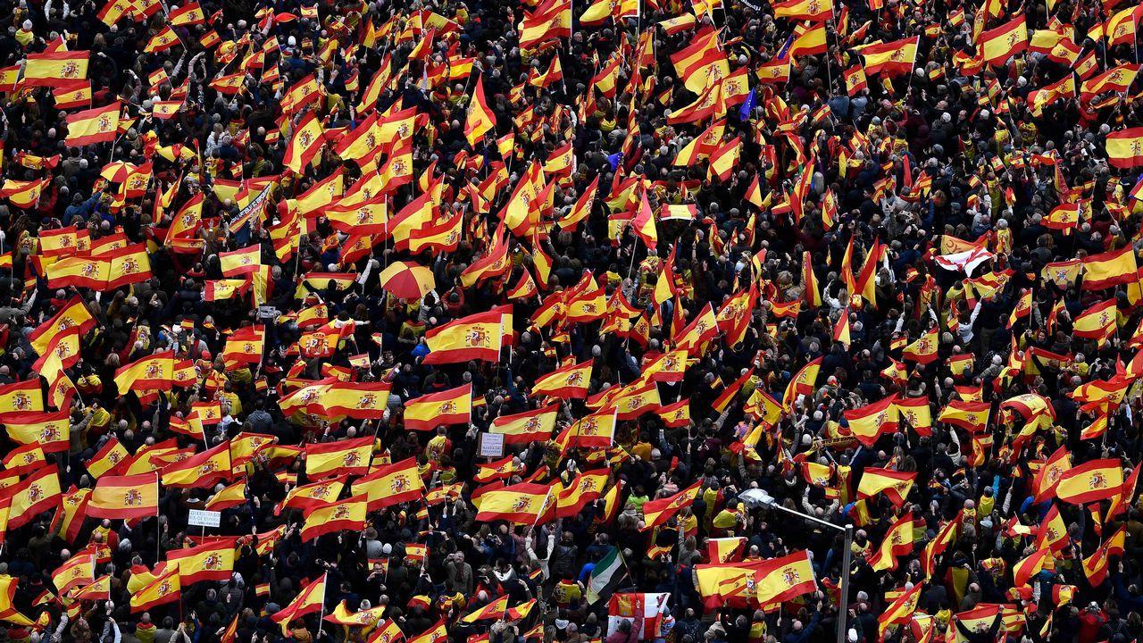 Las banderas de España fueron el elemento que más se repitió durante la manifestación