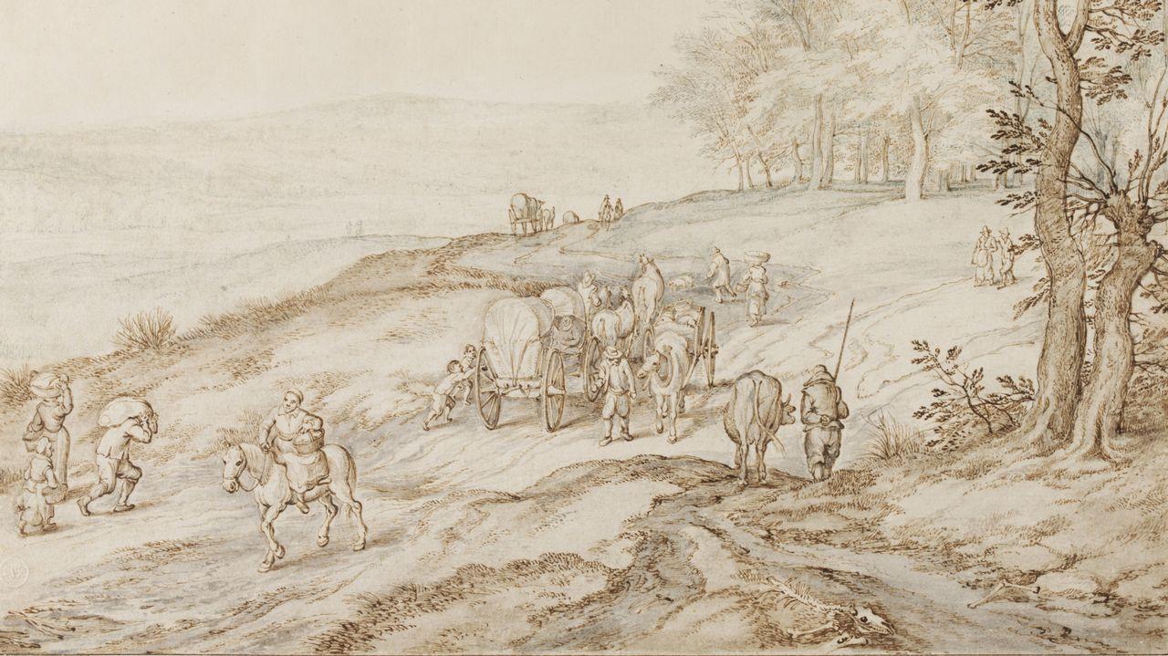 trazosdos.PRIMEROS TRAZOS. Dibujo atribuido a Brueghel el Viejo, realizado con pluma y tinta marrón