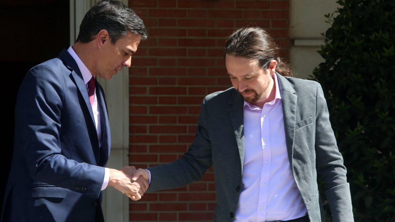 Sánchez e Iglesias, durante el encuentro que mantuvieron en la Moncloa el 8 de mayo