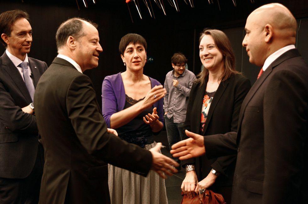 Ana Botín, en la Universidad de Vigo.Santiago Rey con el alcalde de Vigo, Abel Caballero