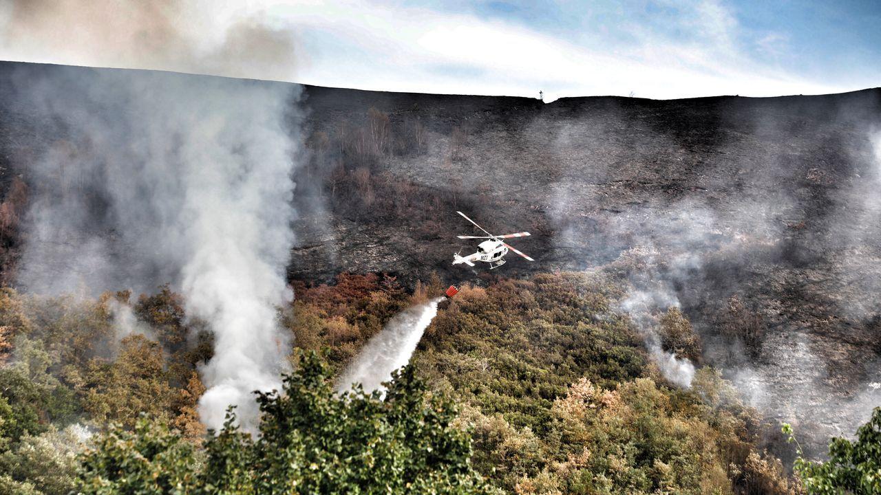 Los medios de extinción trabajan en Vilariño de Conso.Incendio que entró este jueves desde Portugal ll parque natural del Xurés por el concello de Lobios