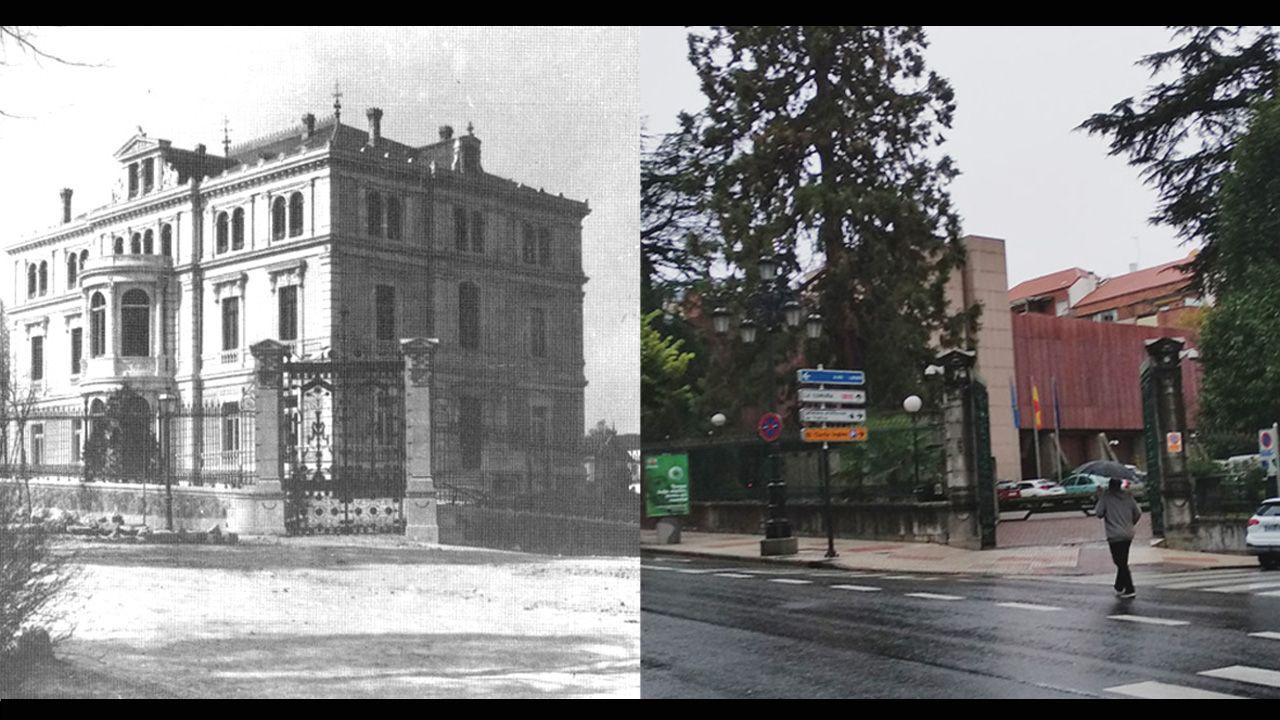 A la izquierda, el chalet de Concha Heres en Toreno. A la derecha, el aspecto actual del mismo lugar.