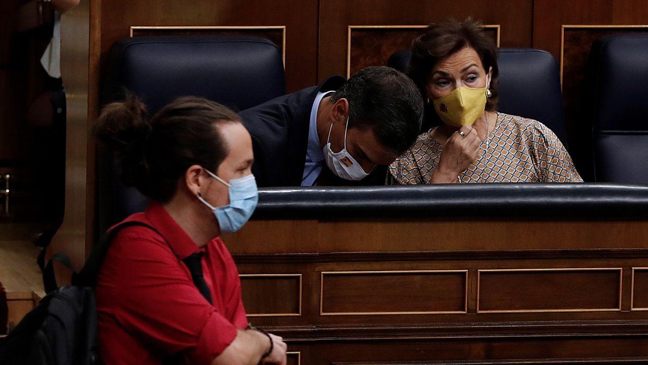 Gonzalo Caballero, Alberto Núñez Feijoo y Ana Pontón, en el Parlamento