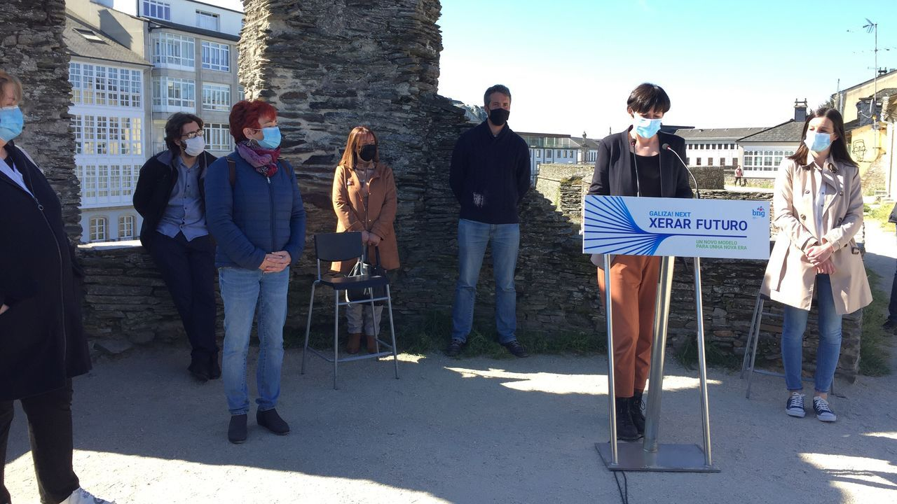 Ana Pontón en Lugo este miércoles, exigiendo a Feijoo que refuerce el personal sanitario