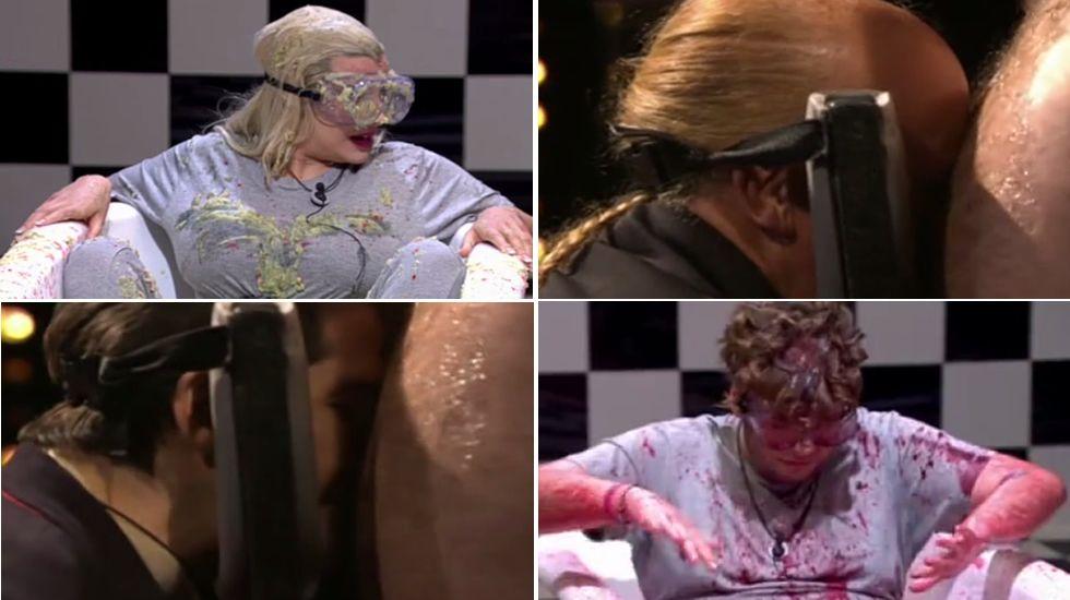 Baño de spaguettis, vómitos y sangre para Julián, Charlottte y Sema