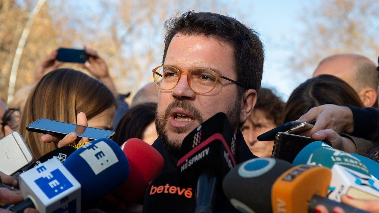El vicepresidente de la Generalitat, Pere Aragonés, solicitó este lunes aplazar la testifical y avanzó que no responderá a las preguntas