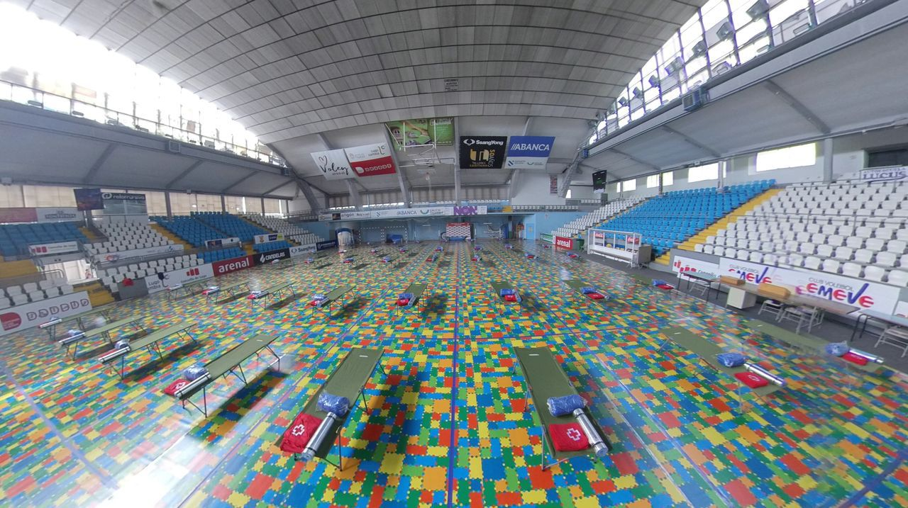 Pabellón de Deportes de Lugo convertido en albergue para sintecho
