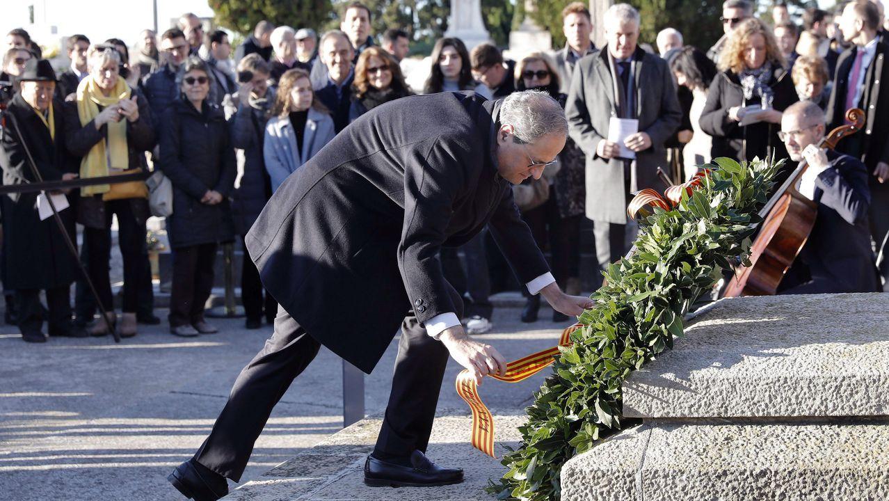 Acto oficial de apertura de la legislatura en el Congreso.Torra, en la ofrenda floral en la tumba de Francesc Maciá