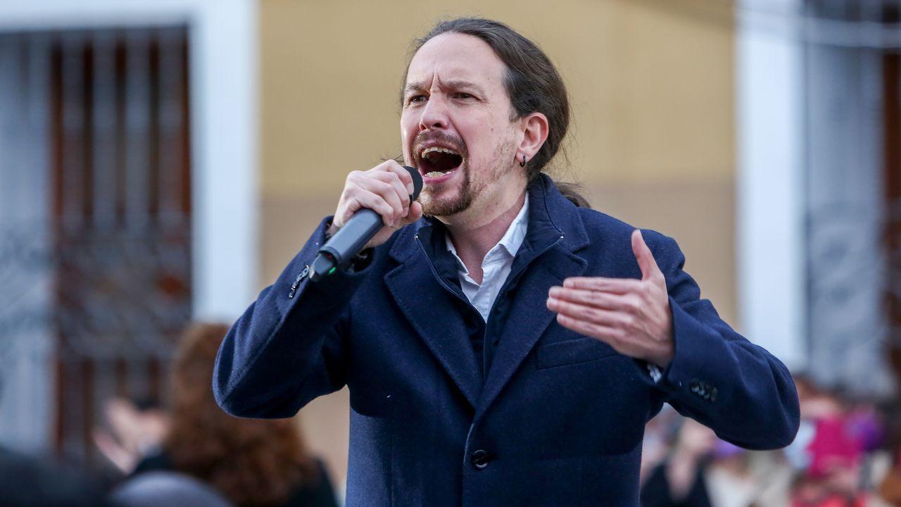 Pablo Iglesias en un mitin de Unidas Podemos