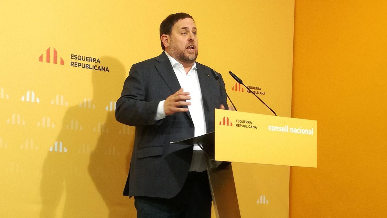 El himno de España se cuela en la ofrenda floral del Govern por la Diada.Oriol Junqueras, durante el discurso de apertura del consejo nacional de ERC en el 2016