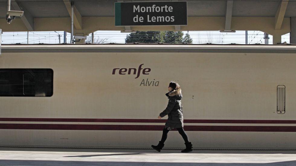Una viajera pasa junto al tren Alvia Lugo-Madrid, detenido en la estación de Monforte