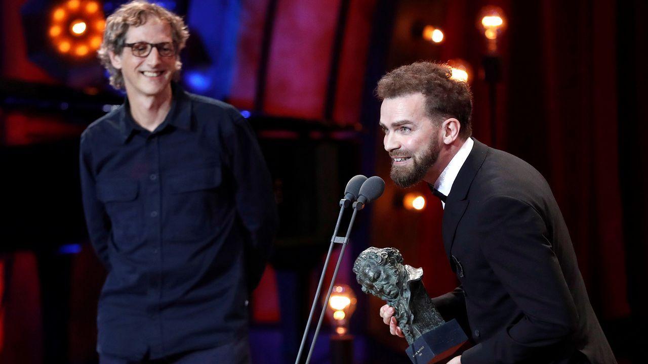 Laurent Dufreche y Raúl López recogen el Premio Goya al mejor montaje, por «Handía»