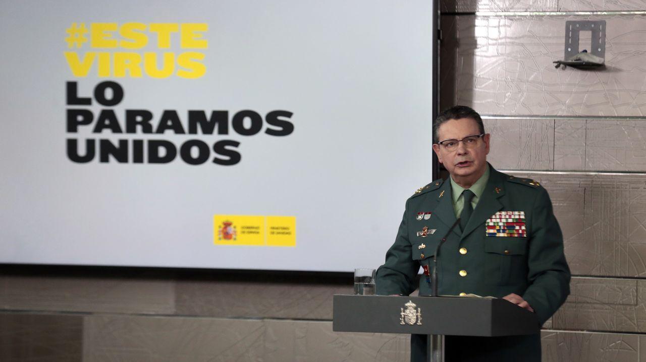 residencia.El director adjunto operativo de la Guardia Civil, el teniente general Laurentino Ceña, en una de sus comparecencias para dar cuenta de las incidencias durante el estado de alarma