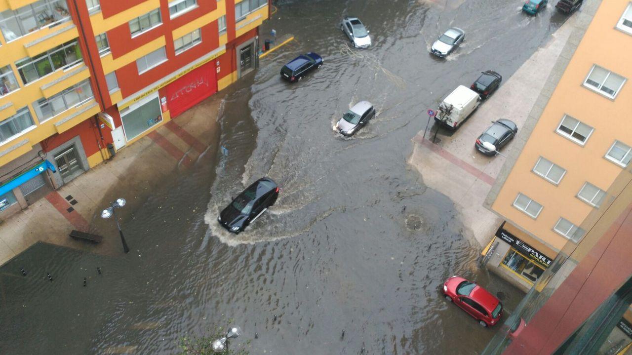 Inundaciones en la avenida de A Coruña, en Lugo