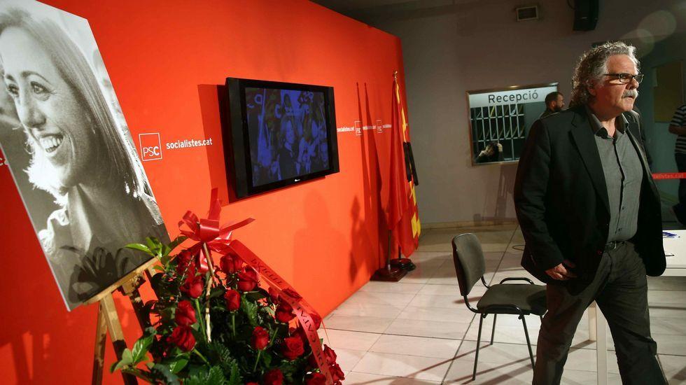 Joan Tardá, de ERC, en la sede del PSC en Barcelona