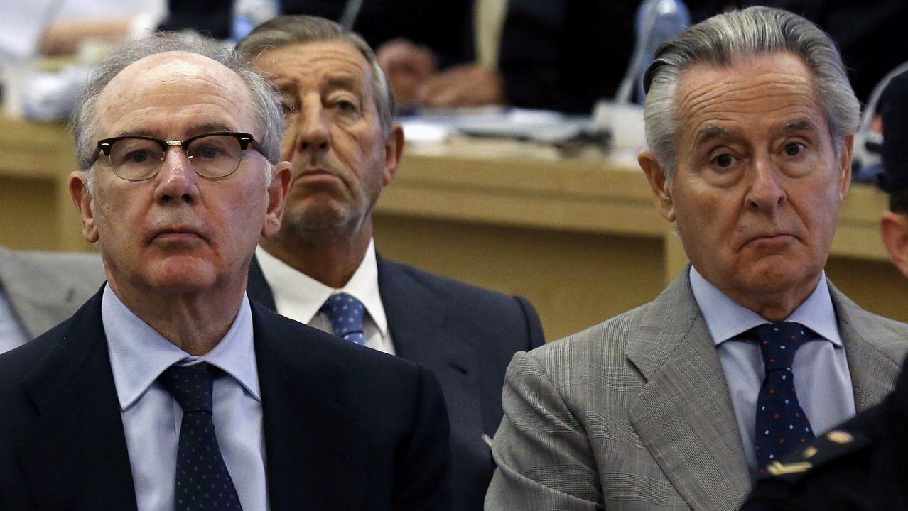 Banqueros en el banquillo.Caso de las tarjetas «black». En febrero Rodrigo Rato fue condenado a cuatro años de cárcel, y Miguel Blesa a seis.