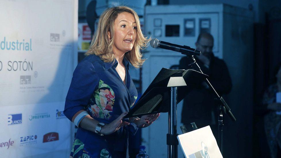 Homenaje a Severo Ochoa.La presidenta de Hunosa, María Teresa Mallada, interviene en la inauguración de la tercera edición de la Feria de Turismo Minero e Industrial en el Pozo Sotón