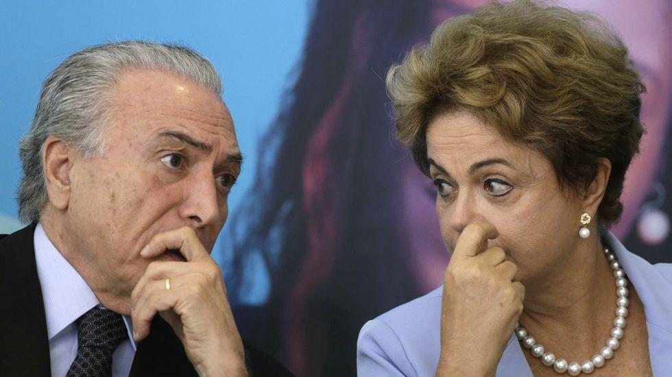 «Esto supondrá un antes y un después en Brasil».Michel Temer junto a Dilma Rousseff