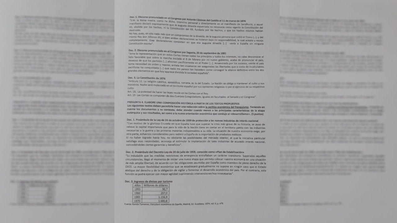 Examen de Historia de España de la ABAU 2020