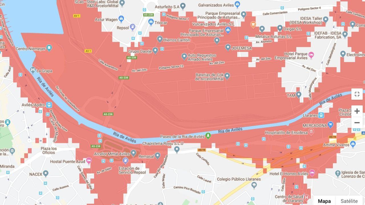 La zona industrial afectada por las inundaciones marítimas que la investigación prevé en Avilés en los próximos 30 años