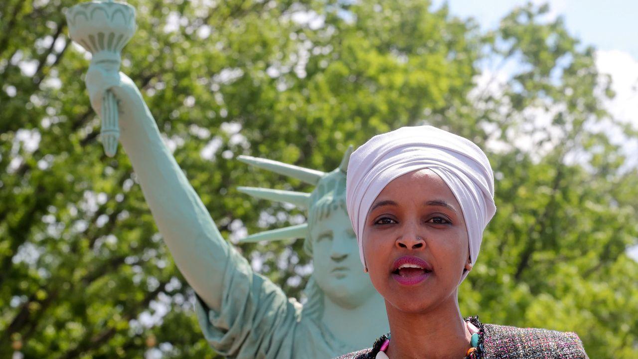 La congresista demócrata Ilhan Omar, durante un mitin sobre los derechos de los migrantes en Estados Unidos