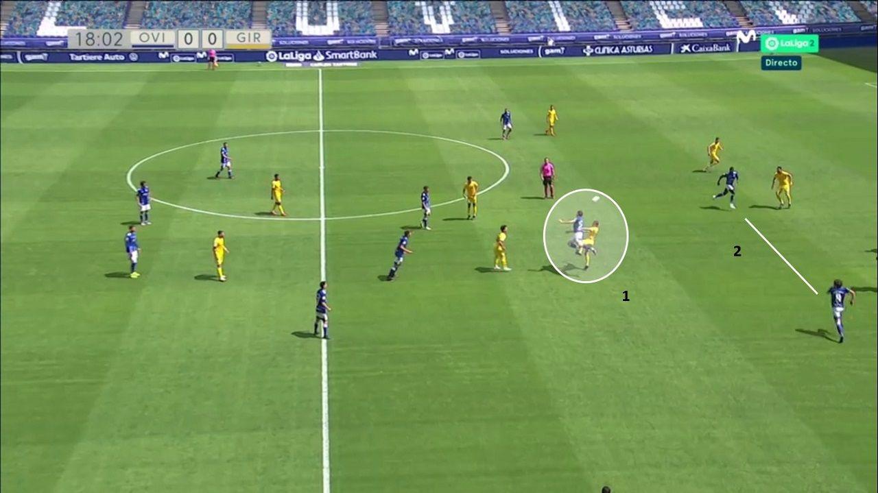 JUEGO DIRECTO OVIEDO. 1-Leschuk gana la disputa a Cristóforo. 2-Sangalli y Obeng, a la caída ante los tres centrales del Girona
