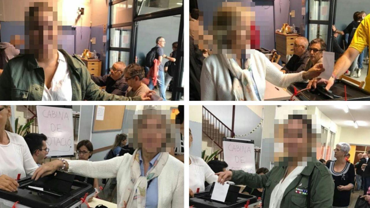 Fotos difundidas por Societat Civil Catalana que muestran a gente votando al menos dos veces en el referendo ilegal del 1-O