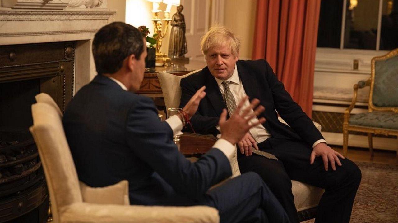 Juan Guaidó, durante su entrevista con Boris Johnson en Londres