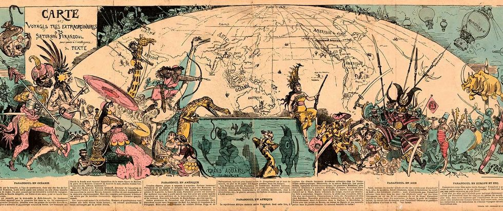 Mapa de los viajes más extraordinarios del escritor francés.