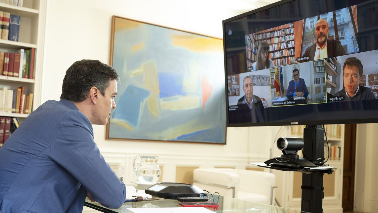 El presidente del Gobierno, Pedro Sánchez, durante la reunión telemática con los miembros del Grupo Plural
