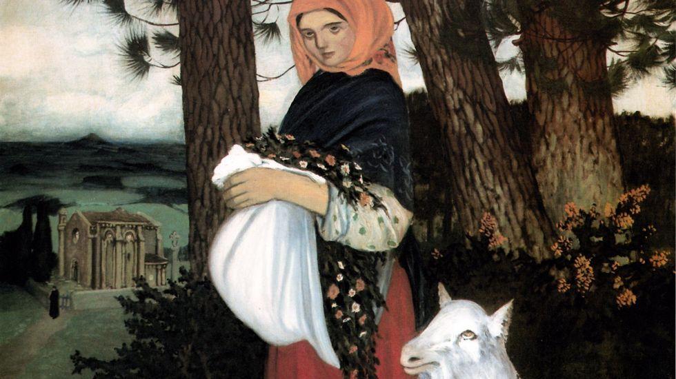 «Moza con cabuxa» (1914), de Alfonso Daniel R. Castelao. Colección Recreo Cultural da Estrada
