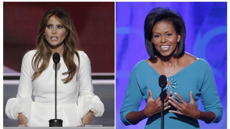 Comparación de los discursos de Melania Trump y Michelle Obama.Michelle Obama hace campaña en favor de Clinton