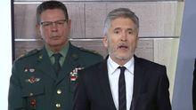 Laurentino Ceña, junto al ministro del Interior, Fernando Grande Marlaska, en la rueda de prensa de ministros