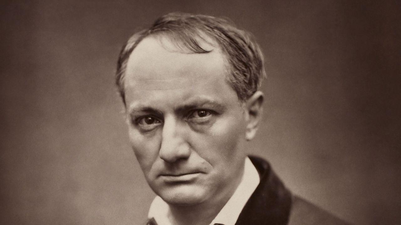 Homenaje en el pozo Funeres (Laviana).Detalle de un retrato de Charles Baudelaire realizado por Étienne Carjat en 1863