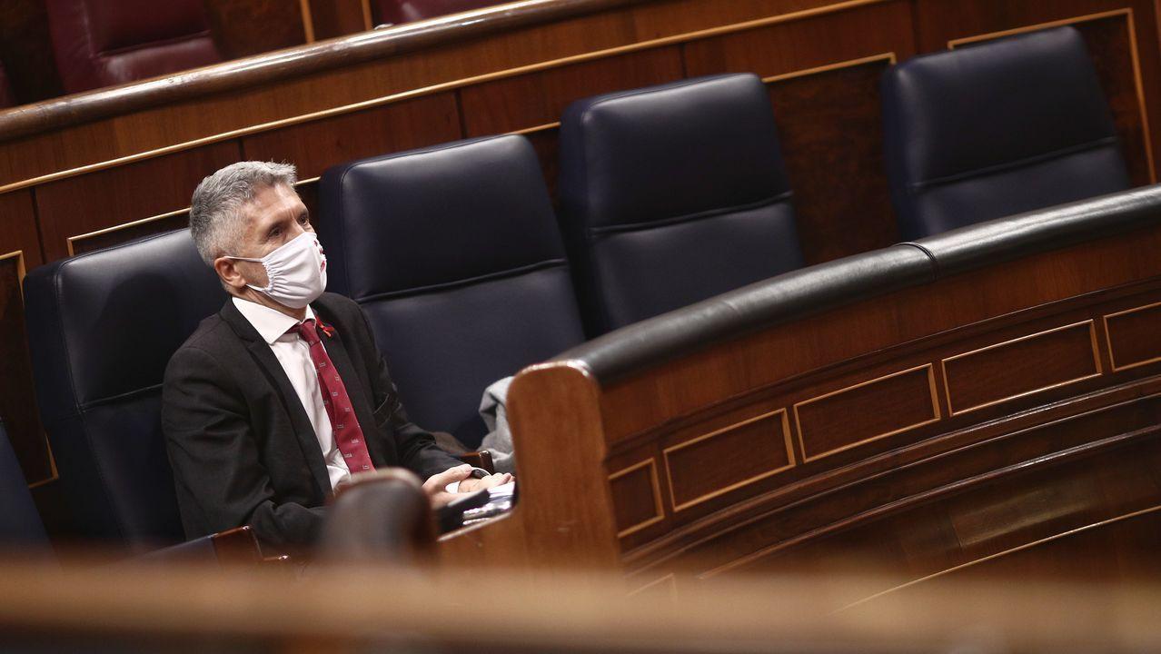 Santiago Abascal y Pablo Casado, este martes, durante la sesión constitutiva del Congreso de los Diputados
