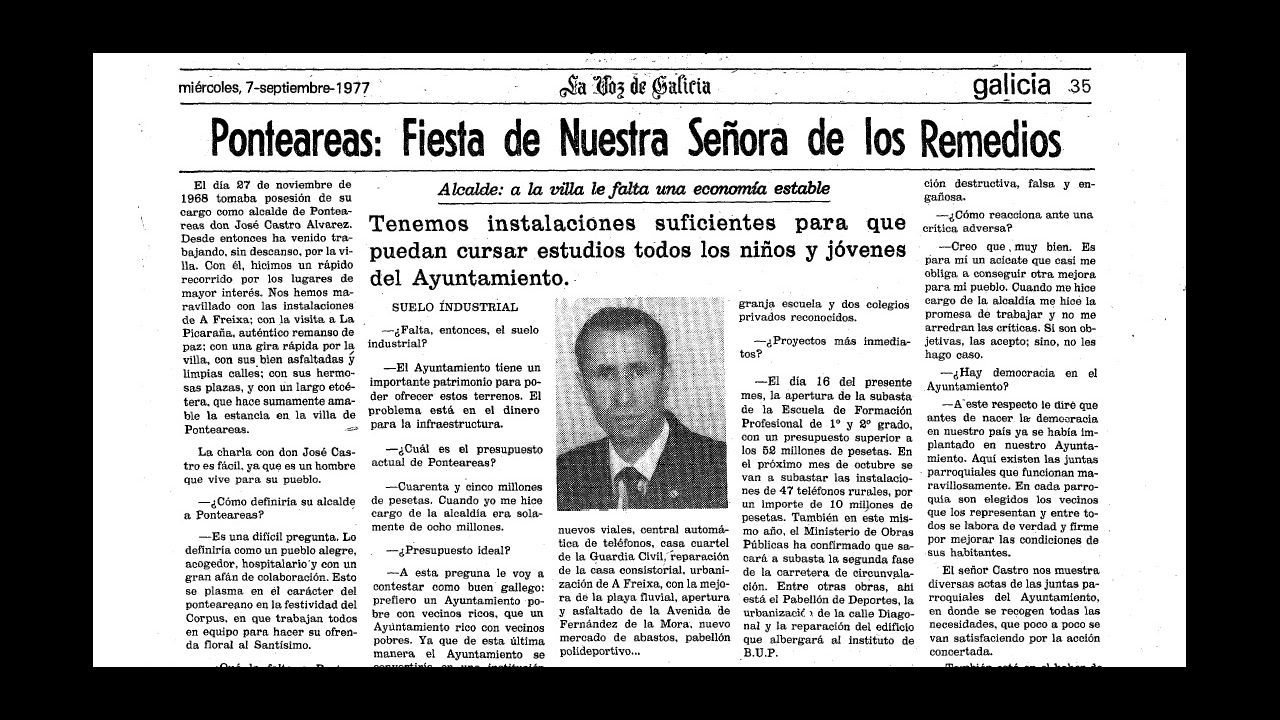 Detalle de una entrevista con José Castro en 1977, cuando ya era alcalde de Ponteareas