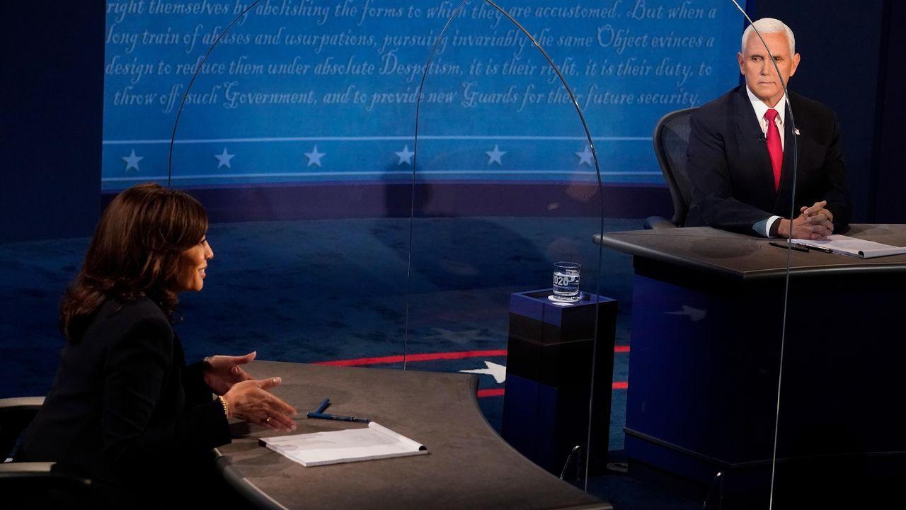 Los candidatos a vicepresidente de Estados Unidos, Mike Pence y Kamala Harris, durante su debate