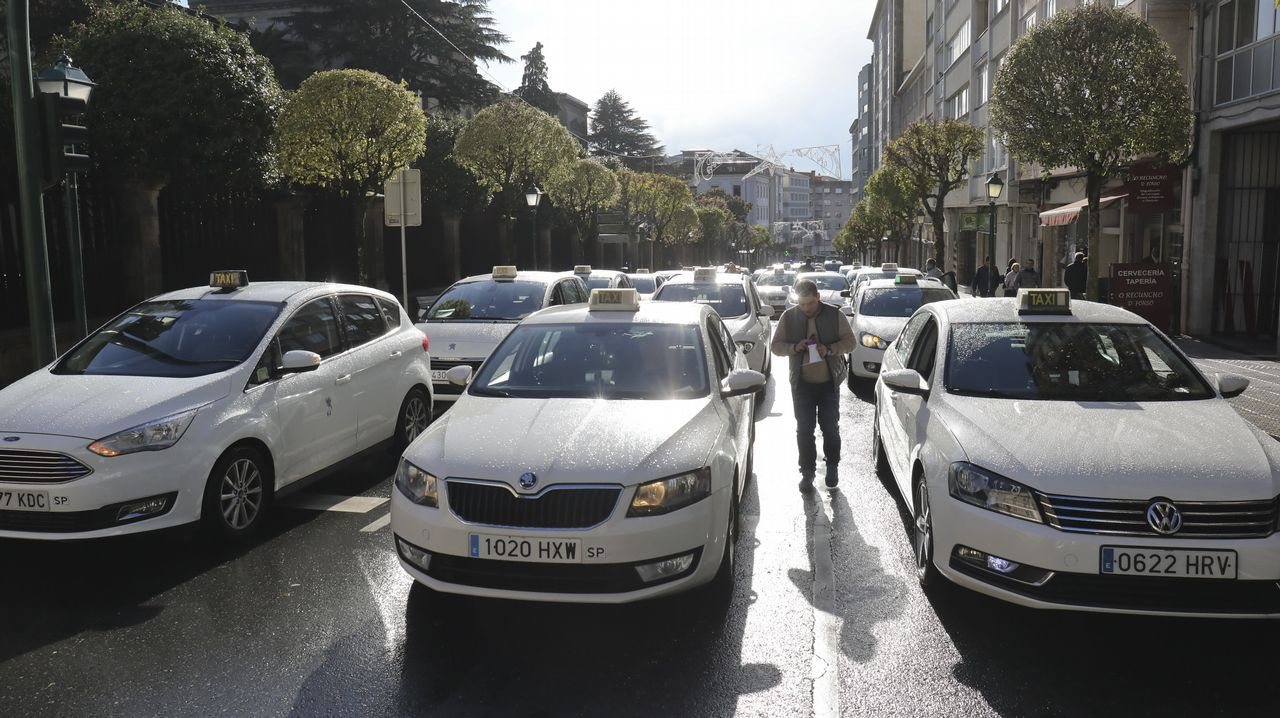 Manifestación de taxistas  en Santiago
