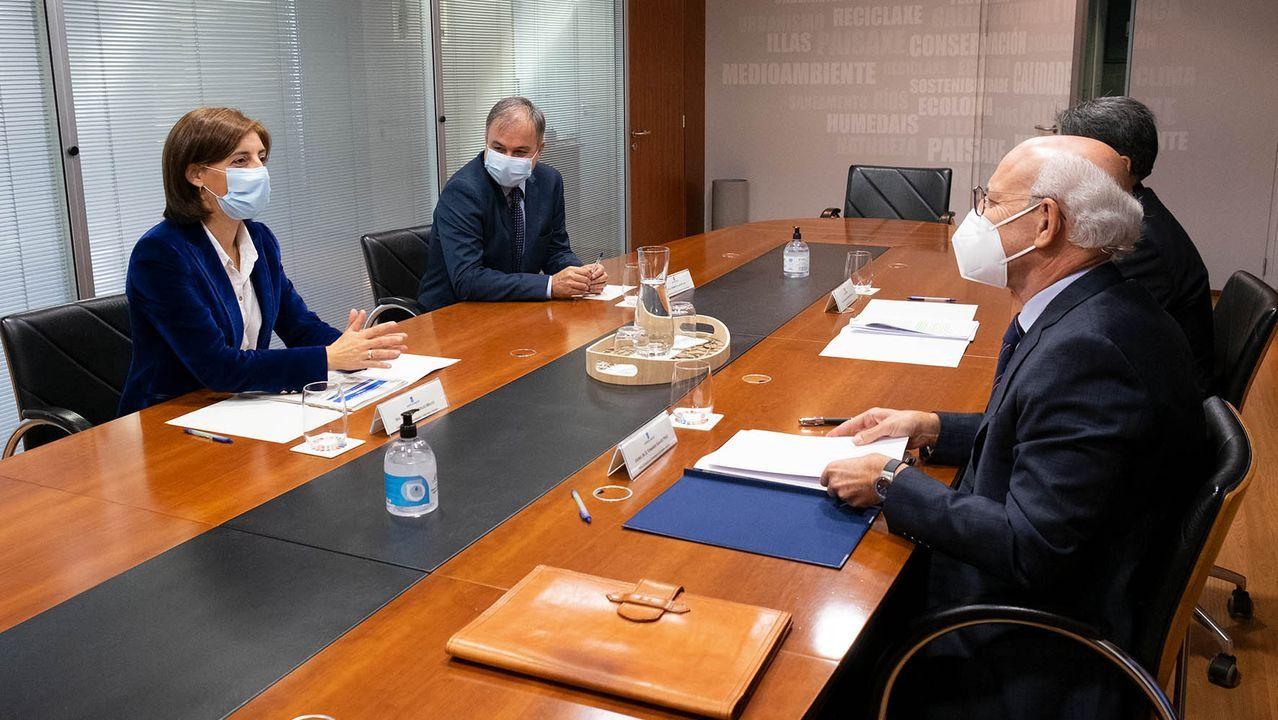 La conselleira de Medio Ambiente, Territorio e Vivenda, Ángeles Vázquez, durante la reunión que mantuvo con el fiscal superior de Galicia, Fernando Suanzez