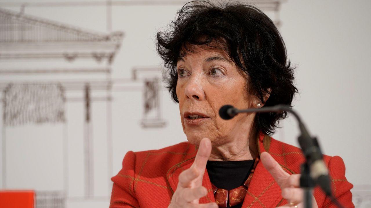 La ministra de Educación y Formación Profesional, Isabel Celaá, hoy en Llodio