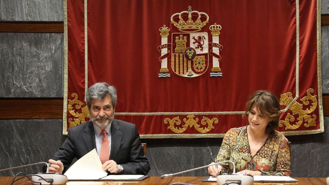 Jordi Cuixart sale de prisión.Dolores Delgado, en un acto en Madrid en diciembre del 2019
