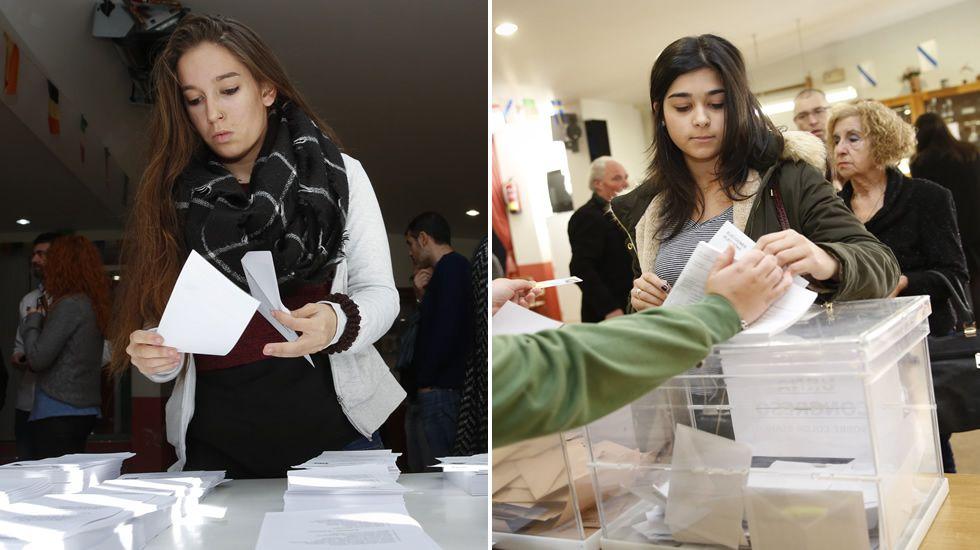 Paula, ejerciendo por vez primera su derecho al voto