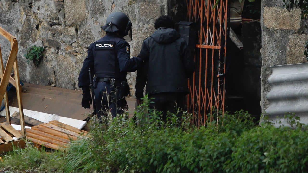 Miguel Rosendo, este miércoles a la salida de la cárcel de Teixeiro