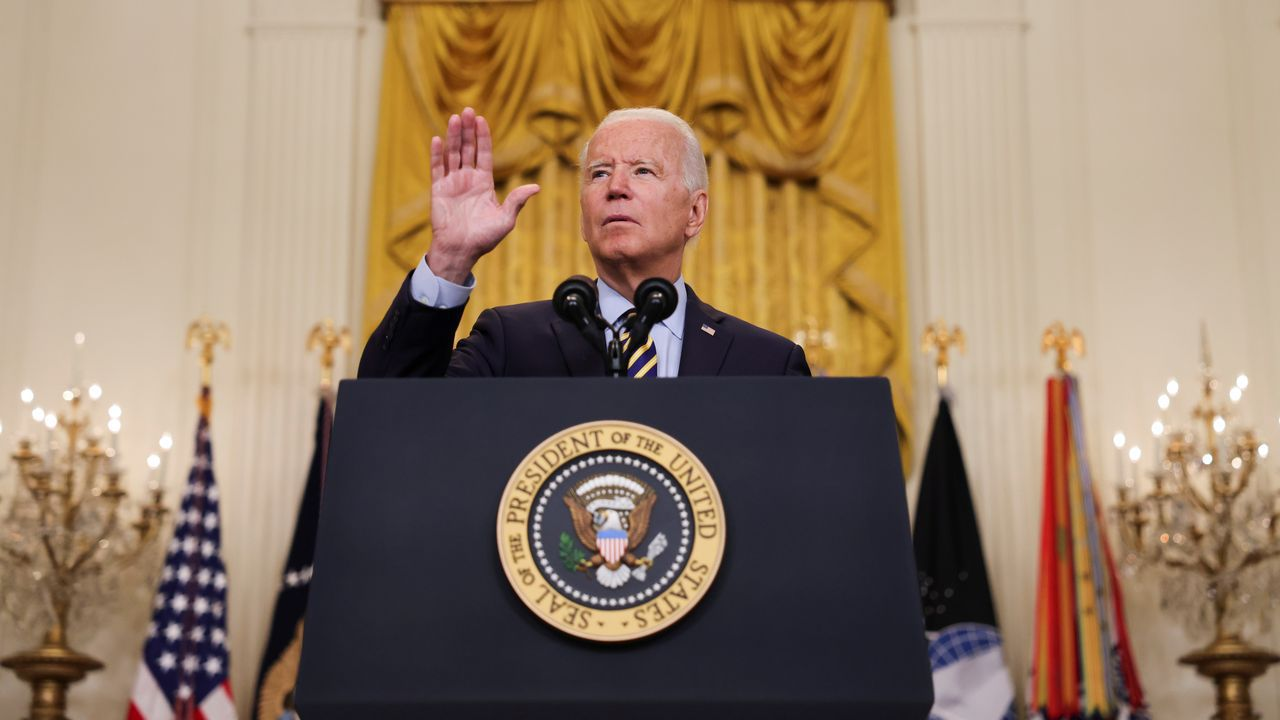 El presidente de Estados Unidos, Joe Biden, este jueves, durante su discurso sobre Afganistán en la Casa Blanca
