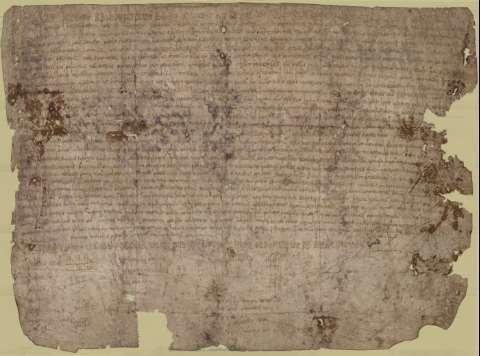 Uno de los archivos más antiguos del Arquivo do Reino es este pergamino del 867. Rosendo, obispo de Mondoñedo, registra con él una donación